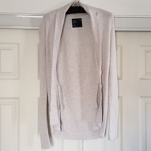 American Eagle White/Light Gray Cardigan Sweater M